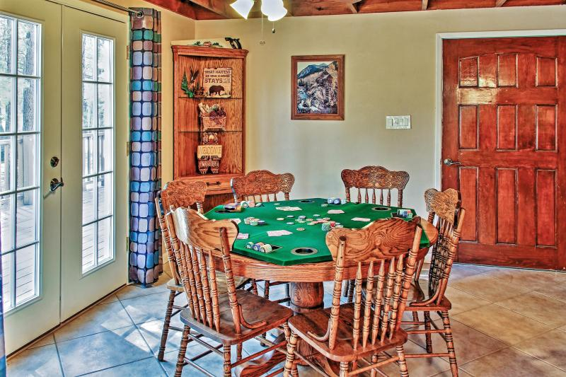 For poker night, set out the table top and deal the deck!