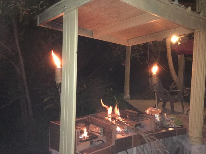 evening BBQ,  with tiki torches, wood fire and propane burner