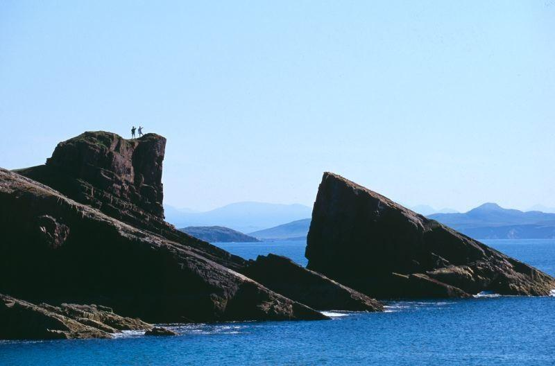 Split rock towers over the beach