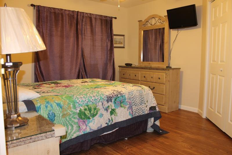Master Bedroom-Queen Bed w/Headboard, Two Night Tables, Dresser w/mirror, Hardwood Floors