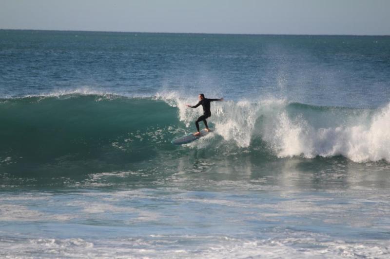 Surfing at Ocean Beach down the road.