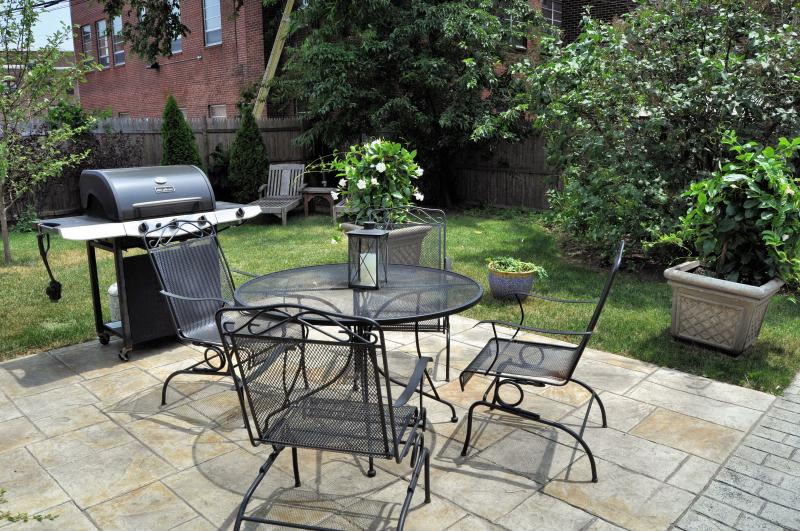 common patio with grill