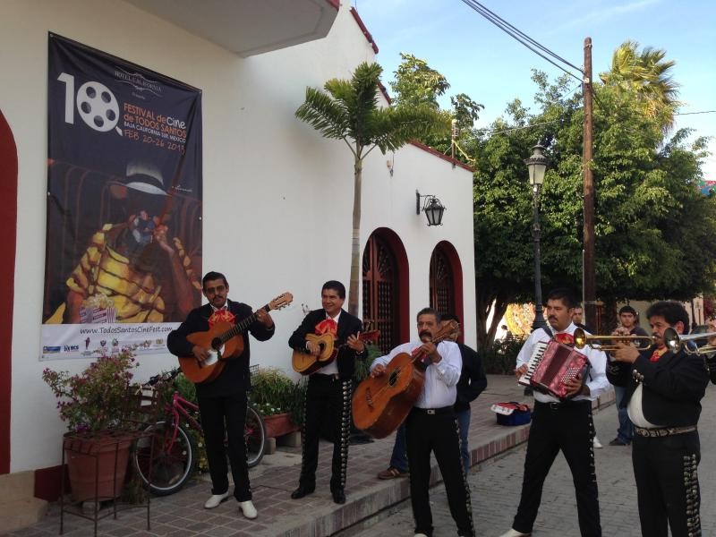 Mariachis, in the village , during the film festival