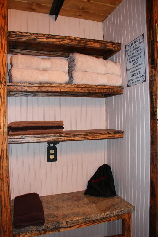Lots of space for personal items in bathroom as well