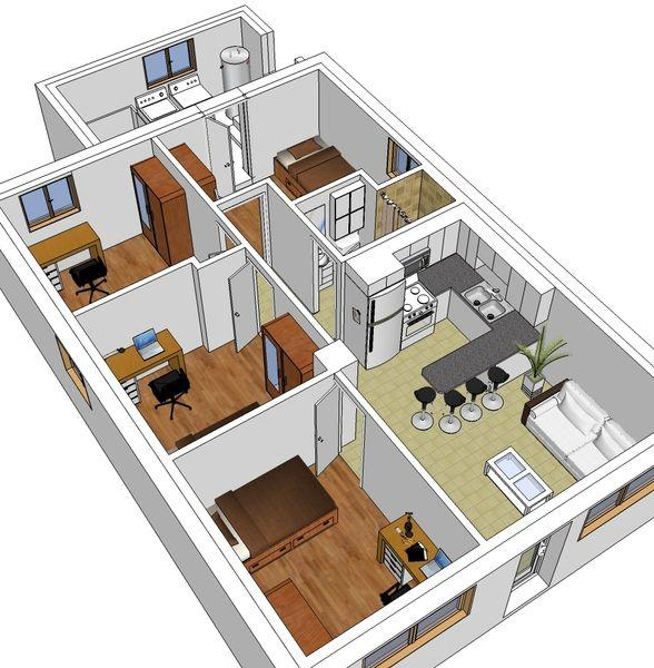 Floor plan angled view.