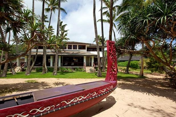 Hale Koa View from beach toward home with handcarved canoe in the foreground