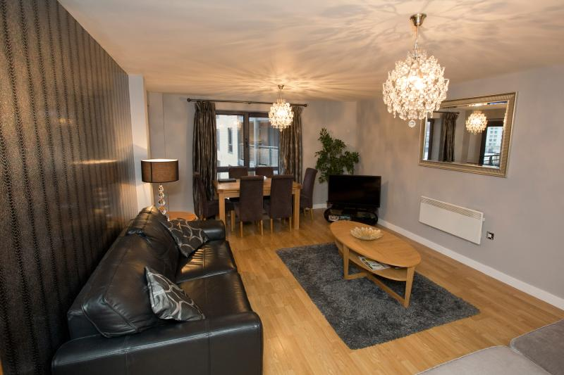 The spacious lounge comfortably accommodates six people and has views over the river Tyne
