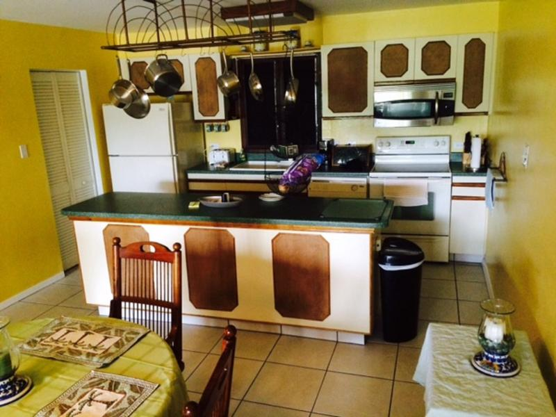 Kitchen area, microwave, oven, dishwasher, coffee maker, toaster