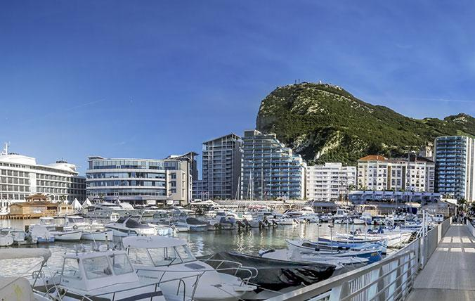 Ocean Village Marina with Rock of Gibraltar in the background