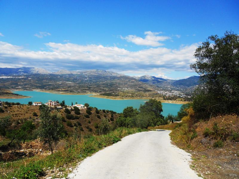 Road from casa with Lake Vinuela ahead..