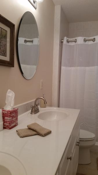One of 2 bathrooms in the cottage.