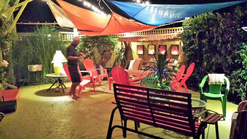 Front patio on a summer night