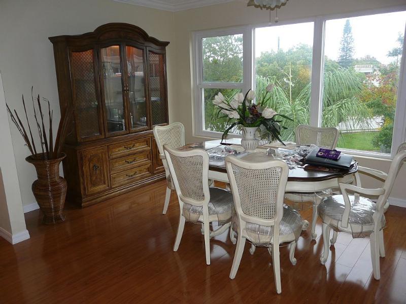 Dining room overlooks central garden area