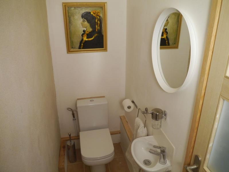 The second washroom contains a toilet, mirror and basin