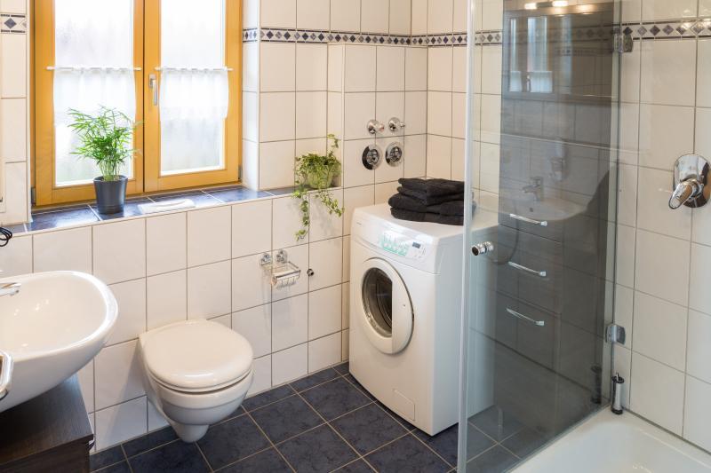 Bad mit Dusche, WC, Waschbecken und Waschmaschine