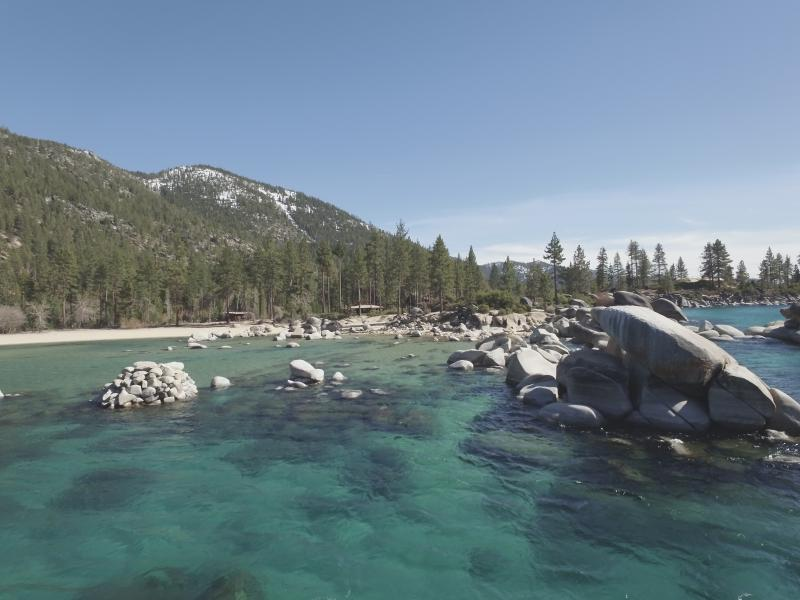 Sand Harbor. Great for paddle boarding or kayaking. About 10 minute drive