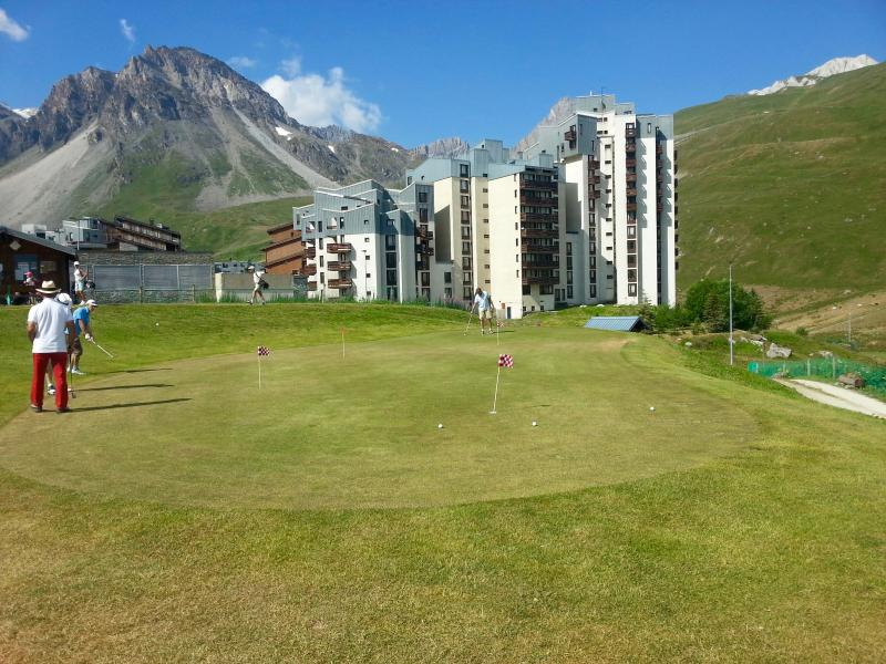 Summer front view of residence from 1st Tee of Tignes golf course