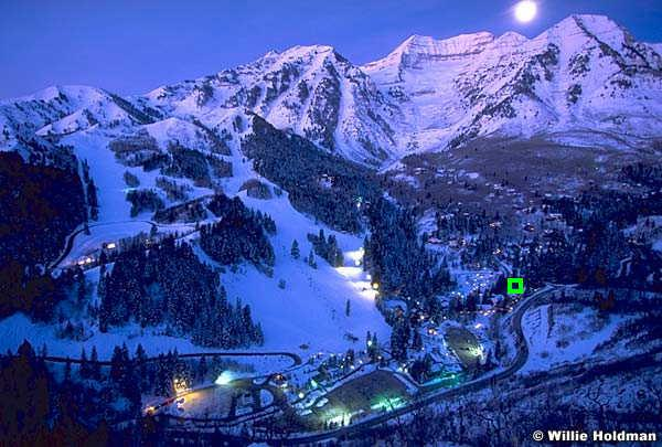 Morning has Broken with Moon Setting over Mount Timpanogos. Green square locates  Tree House Suite