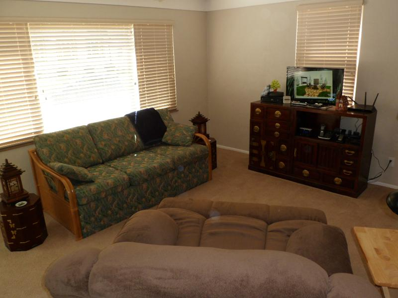 Living room has large recliner and sofa couch