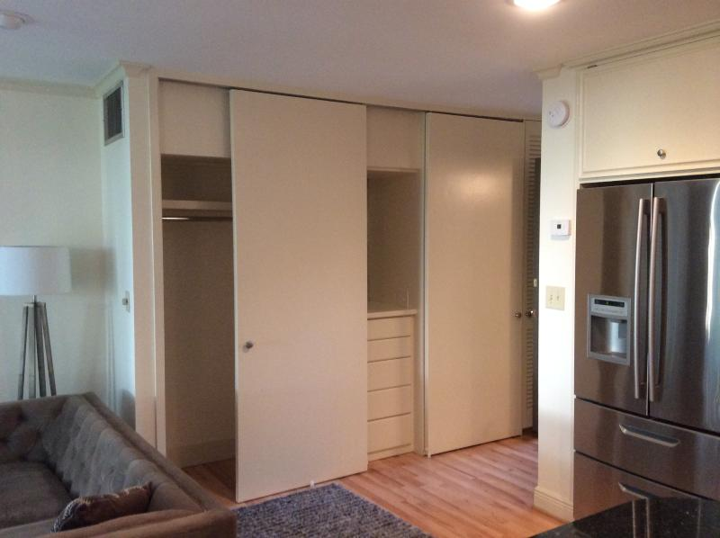 Plenty of storage. Two full-size closets and built in five-drawer dresser with mirror/vanity space.