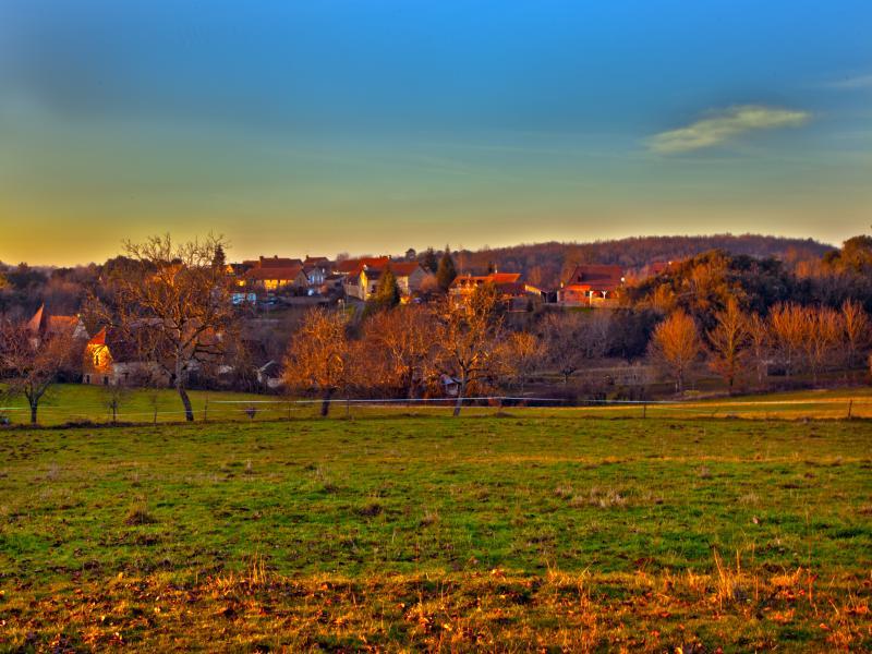 Our lovely hamlet, Carmensac at sunset