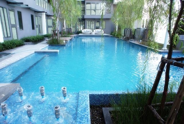 a swimming pool on the 6th floor