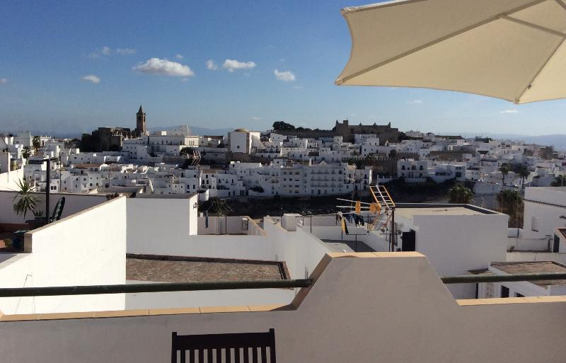 Casa Colina Blanca roof terrace  with fabulous views of the historic town and countryside beyond..