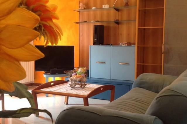 sala con divani  e tv led, lettore dvd-dvx-usb, attacchi apple appartamento 'Le margherite'