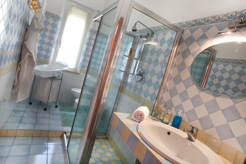 Bagno con grande box doccia in vetro temp 'Le margherite' ,lavandino,bidet, wc e vaschetta neonato