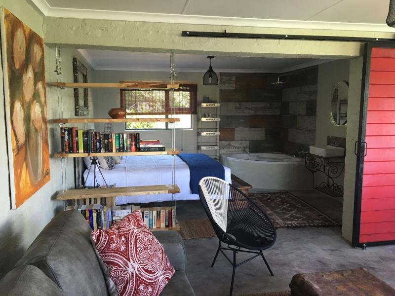 Studio apartment interior with eclectic decor and charm!