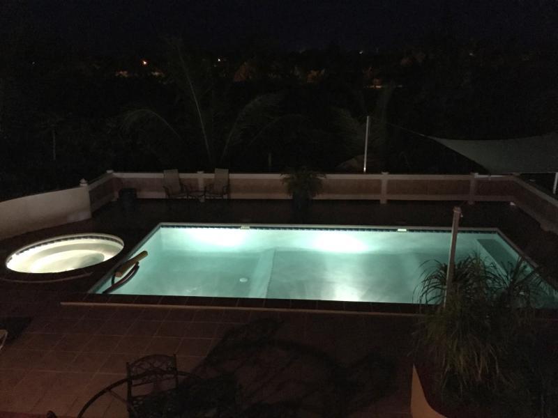 Pool lights at night at ProvoVilla
