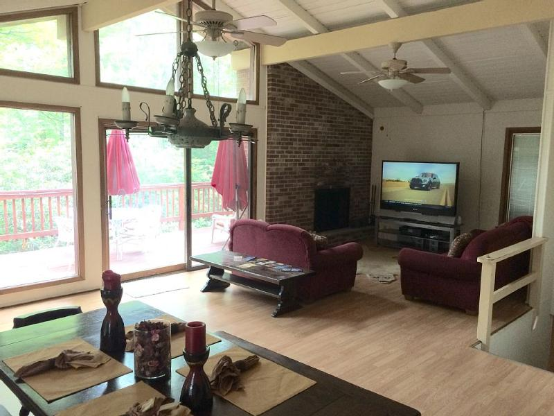 Great room with large screen TV