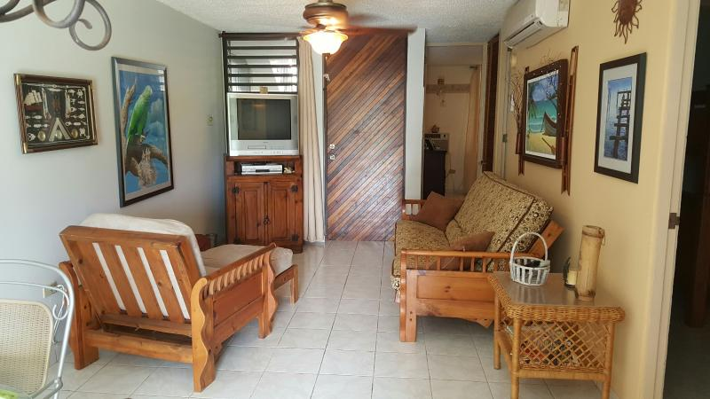 Air conditioned living/dining room area with cable TV/DVD sets.