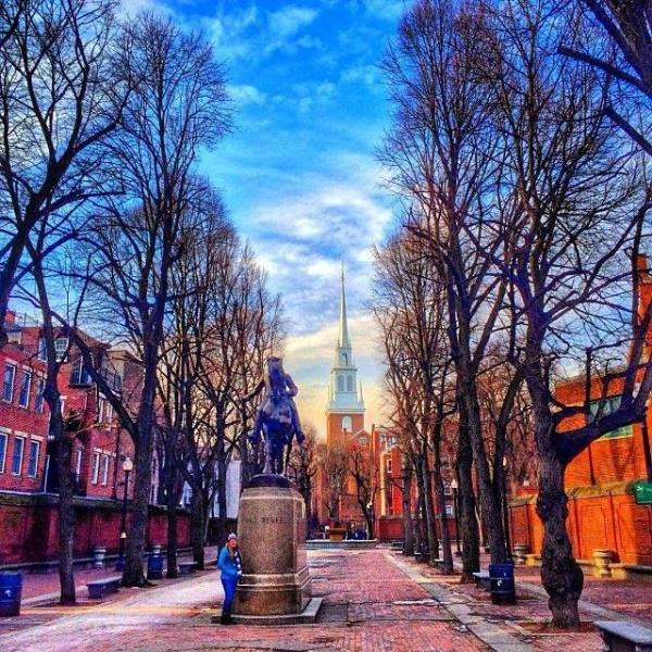 Paul Revere Mall with the Old North Church in Background