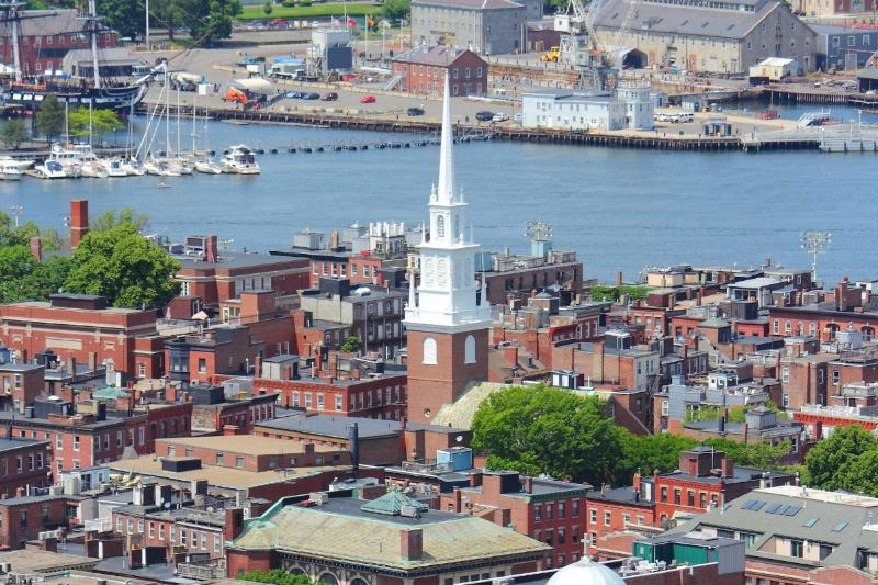 Old North Church with the U.S.S. Constitution
