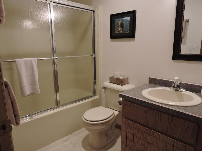 Private bathroom across the hall from the Aspen Room.  Tub/shower