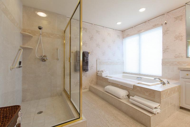 Baño principal ducha con bañera grande separada