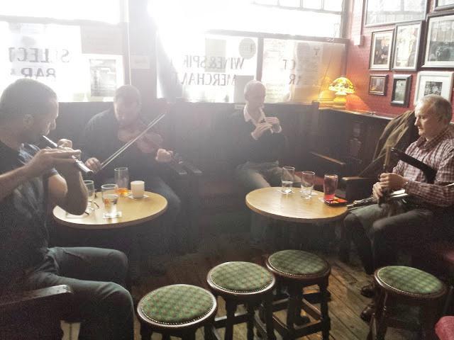 'COBBLESTONE BAR'  Smithfield - tradiitional Irish music every evening - 15 minute walk
