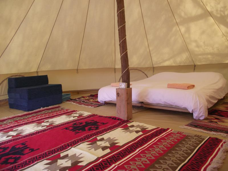 Inside cotton bell tent