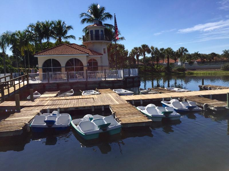 Paddleboats and canoes available for use