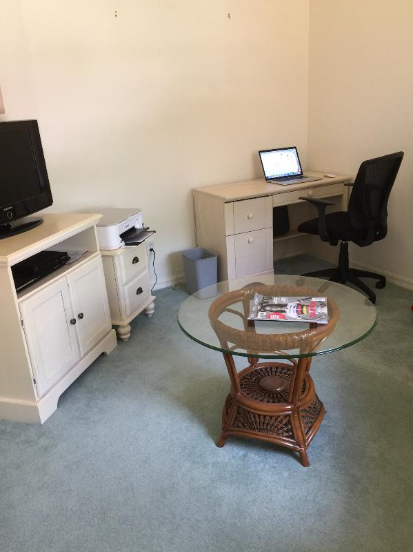 Workstation area with printer in den