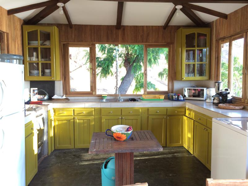 Kitchen with views! fridge, gas stove, oven, microwave, washer, small appliances