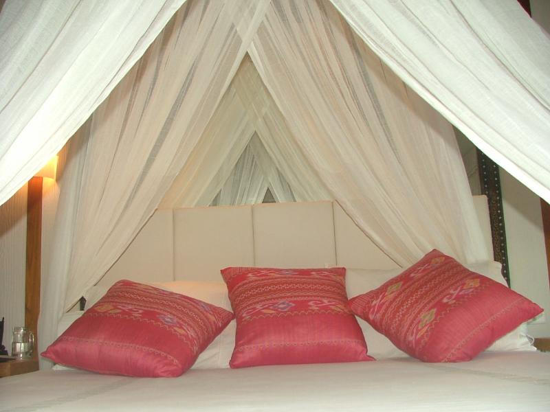 Master bed with large mirror behind the bed overlooking the ocean, with high vaulted ceiling