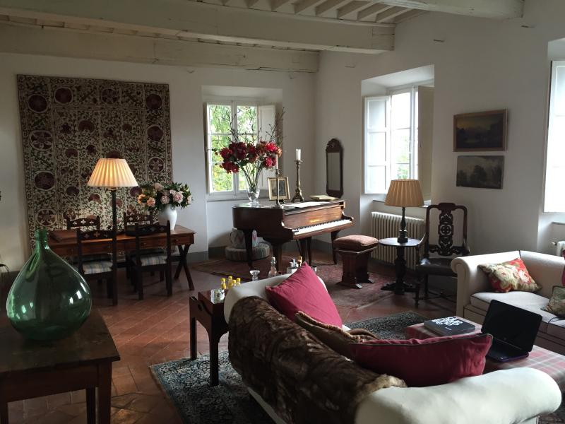 The drawing room with open fireplace