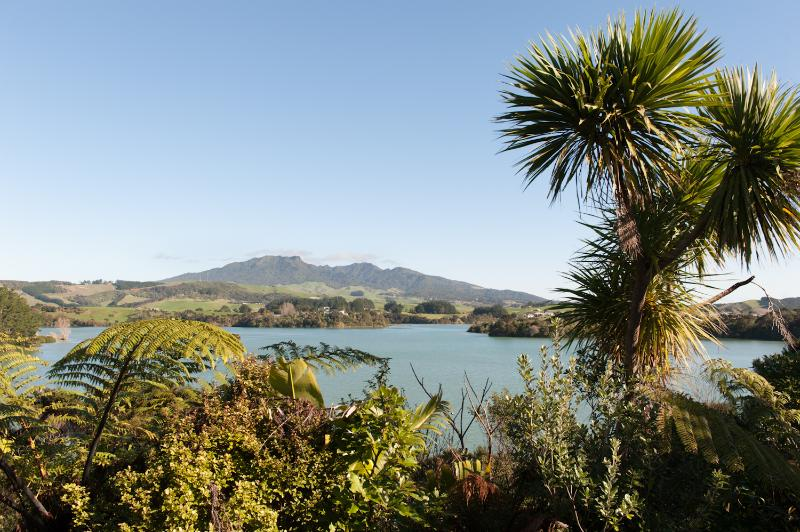 view of estuary and Mt Karioi from front deck