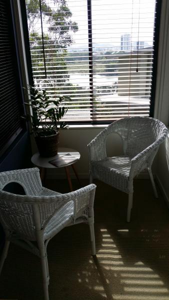 Inside sitting nook in bedroom with views to Currumbin Creek