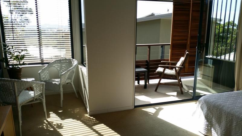 inside reading nook in bedroom or read outside on deck
