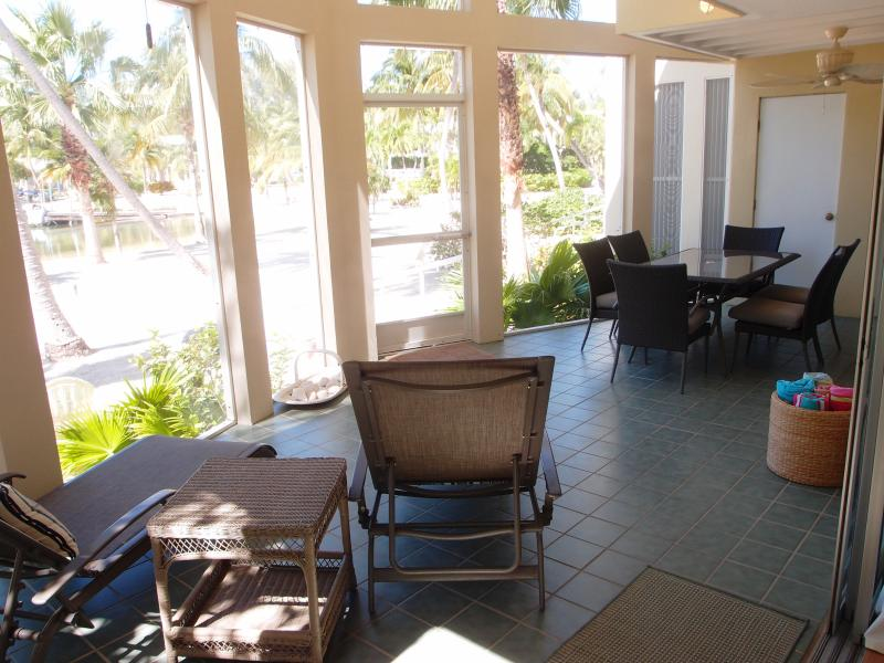 The loungers on the Lanai have great views of the beach, cove, and sunsets.