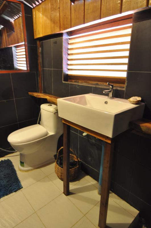 New en-suite bathroom for a shower after your swim..
