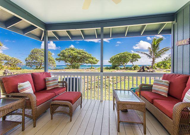 Hale Makai Beachfront Home Ac Bamboo Flooring Oceanfront On Anahola Bay